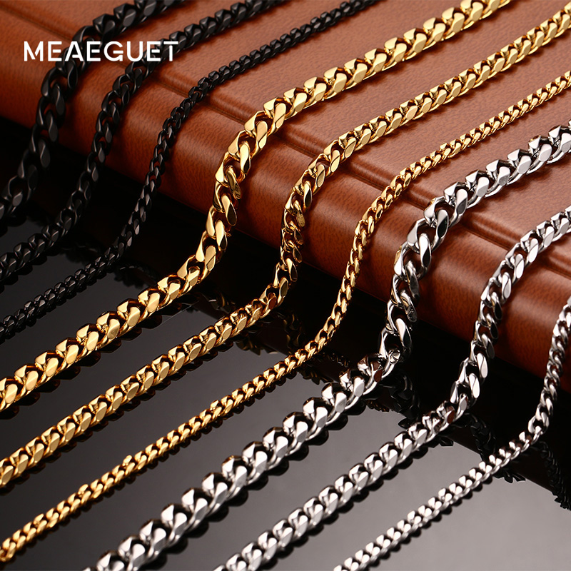 Meaeguet Stainless Steel Long Men Chain Jewelry