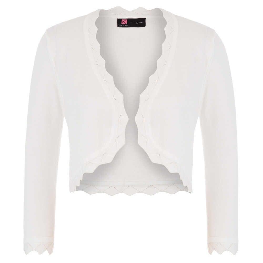 Casaco feminino 3/4 manga aberta frente recortada comprimento bolero elegante vintage magro encolher cor sólida primavera senhoras tricô cardigan
