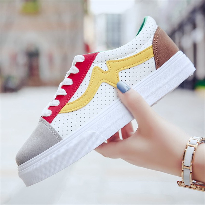 2019 New Canvas Fashion Shoes Woman Spring Color Women Flats Lace-up Casual Sneakers