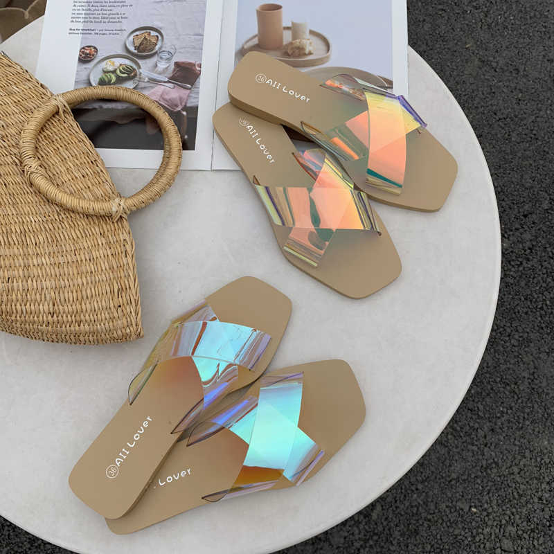 cross wide straps shoes woman summer beach slippers colorful PVC flat with slides cozy soft bottom flip flops open toe slippers