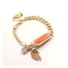 Коралловый овальный камень кулон браслет кисточкой стразы проложить Тай Чи талисманы браслет