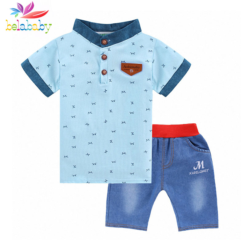 Belababy Boy Summer Clothing Set 2017 Children Striped Cotton Short Sleeve T-Shirt+Shorts Kids 2PCS Sport Clothes Sets For Boys 2pcs children outfit clothes kids baby girl off shoulder cotton ruffled sleeve tops striped t shirt blue denim jeans sunsuit set