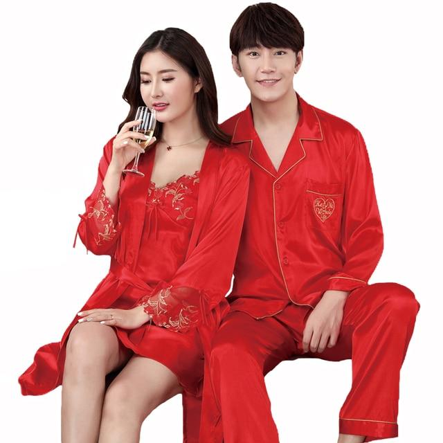 Red spring Autumn Lovers Sleep Set Solid Nightwear Suit Faux Silk Couple  2PCS Sleepwear Casual Wedding Home Wear Plus Size M-3XL dd7324db8