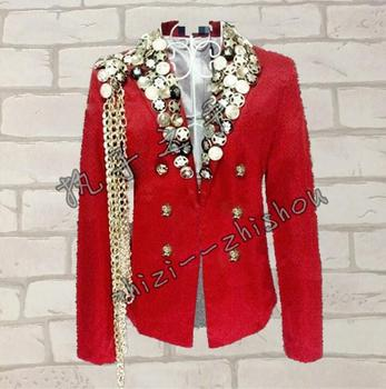 men suits designs personalized homme terno stage costumes for singers men blazer dance clothes jacket style dress punk rock red