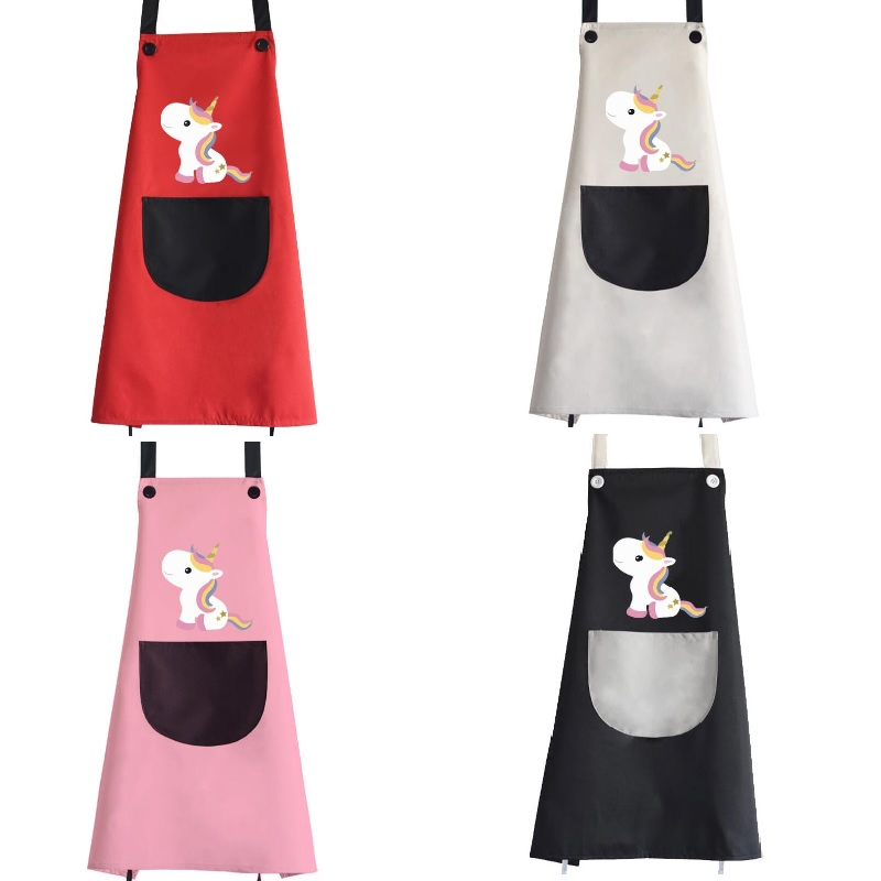 Unicorn Aprons Big Size Cartoon Waterproof Kitchen Apron Party Baking Cooking Aprons Sleeveless Pocket Adult Bbq Bib Apron