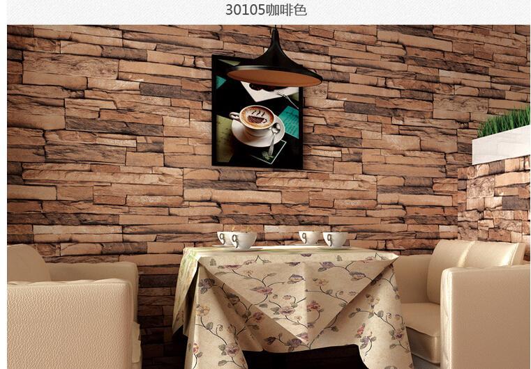 10 pcs 3D Wood Blocks Effect Brown Stone Brick 10M Vinyl Wallpaper Roll  Living Room Background Wall Decor Art Wall Paper