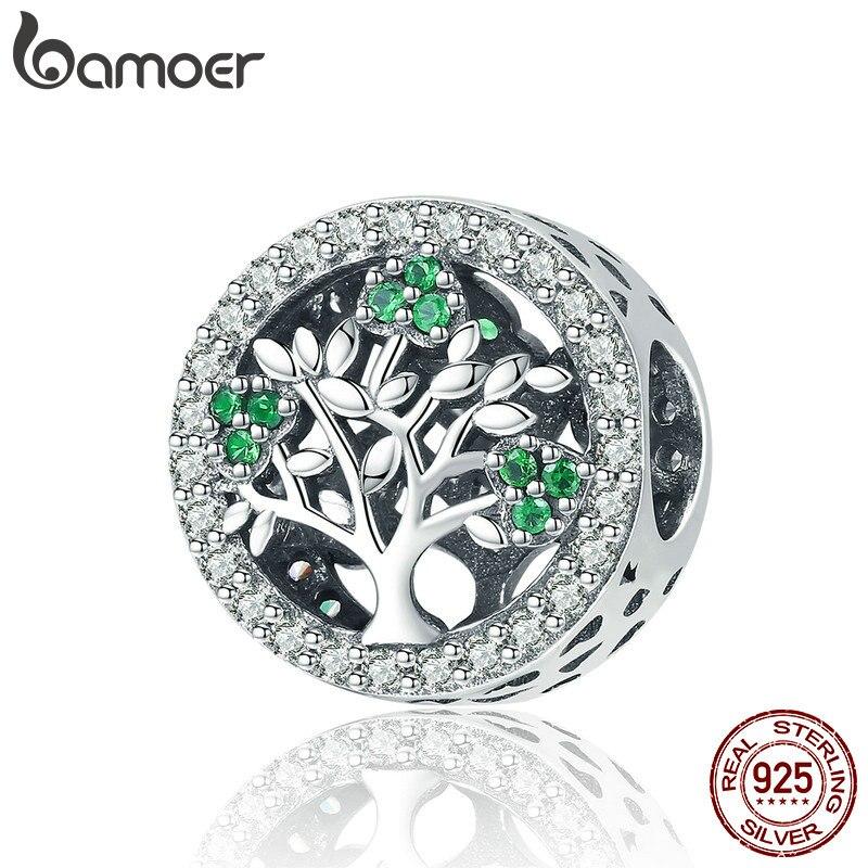 BAMOER auténtica plata esterlina 925 Árbol de la vida deslumbrante CZ encantos redondos cupieron la pulsera de las mujeres joyería accesorios SCC919