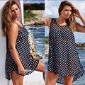 Mulheres Sexy Cover Up Polka Dot Praia de Banho Tops Blusas Tripulação Pescoço Casuais Camisas Soltas