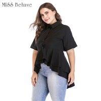 2018 Womens Tops And Blouses 4xl 5xl 6xl Plus Size Women Summer Short Sleeve Ruffles Irregular Women Shirts Black Ladies Tops