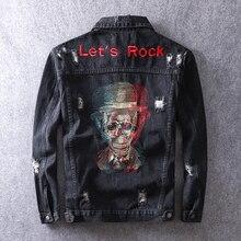 Новинка осени, модная мужская куртка, черный цвет, Череп, вышивка, рок стиль, джинсовая куртка, разрушенная, рваные, пальто, мужская верхняя одежда в стиле хип-хоп