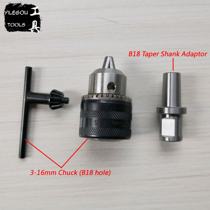 3-16mm Spanner Chuck With 19.05mm Weldon Shank B18 Taper Shank Adaptor For Magnetic Drill mt 2 morse taper shank with 3 16mm spanner chuck 2 morse taper shank b16 heavy spanner drill chuck for twist drills chuck