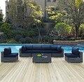 Venta directa de la fábrica Moderna Conjunto de Patio Al Aire Libre Muebles de Mimbre 7 Unidades Salón Sofá