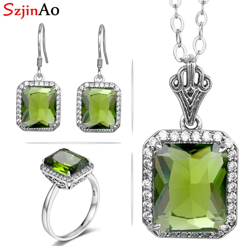 SzjinAo jewelry sets fashion sterling silver 925 sets necklace earrings ring three piece set for adornment