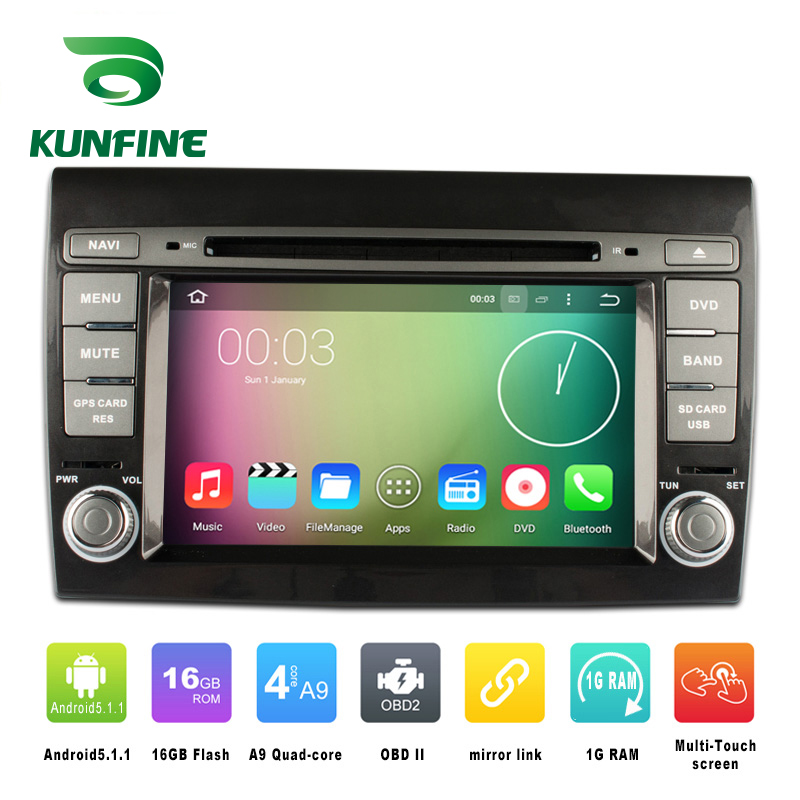 Quad Core 1024*600 Android 5.1 Car DVD GPS Navigation Player Car Stereo for Fiat Bravo (2007-2012) Radio 3G Wifi Bluetooth