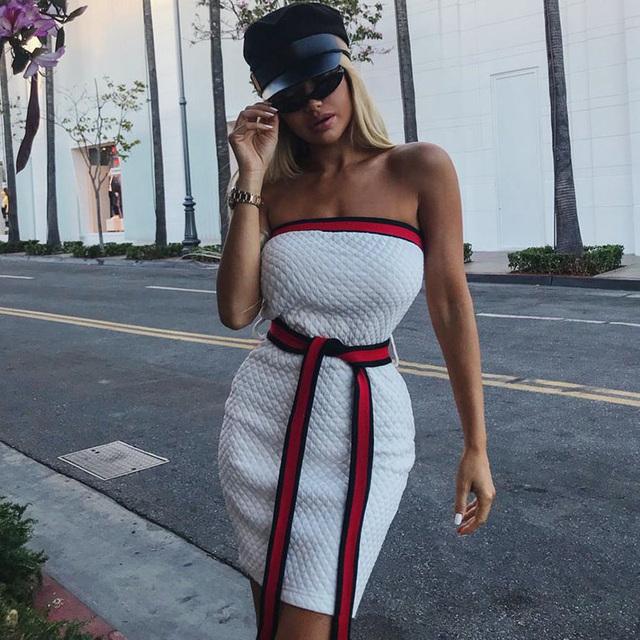 Tube Dress Backless Strapless Off Shoulder Mini Summer Women Sexy Short Dress L