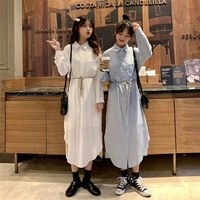 2019 Korean Version Long style Swallow Tail Shirt Dress Long Sleeves Turn down Collar Women Dresses with Belt Brief Loose