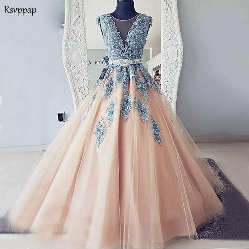 Long Prom Dresses 2019 Elegant Scoop Sleeveless Beaded Applique African Champagne Party Prom Gown With Beaded Sashes