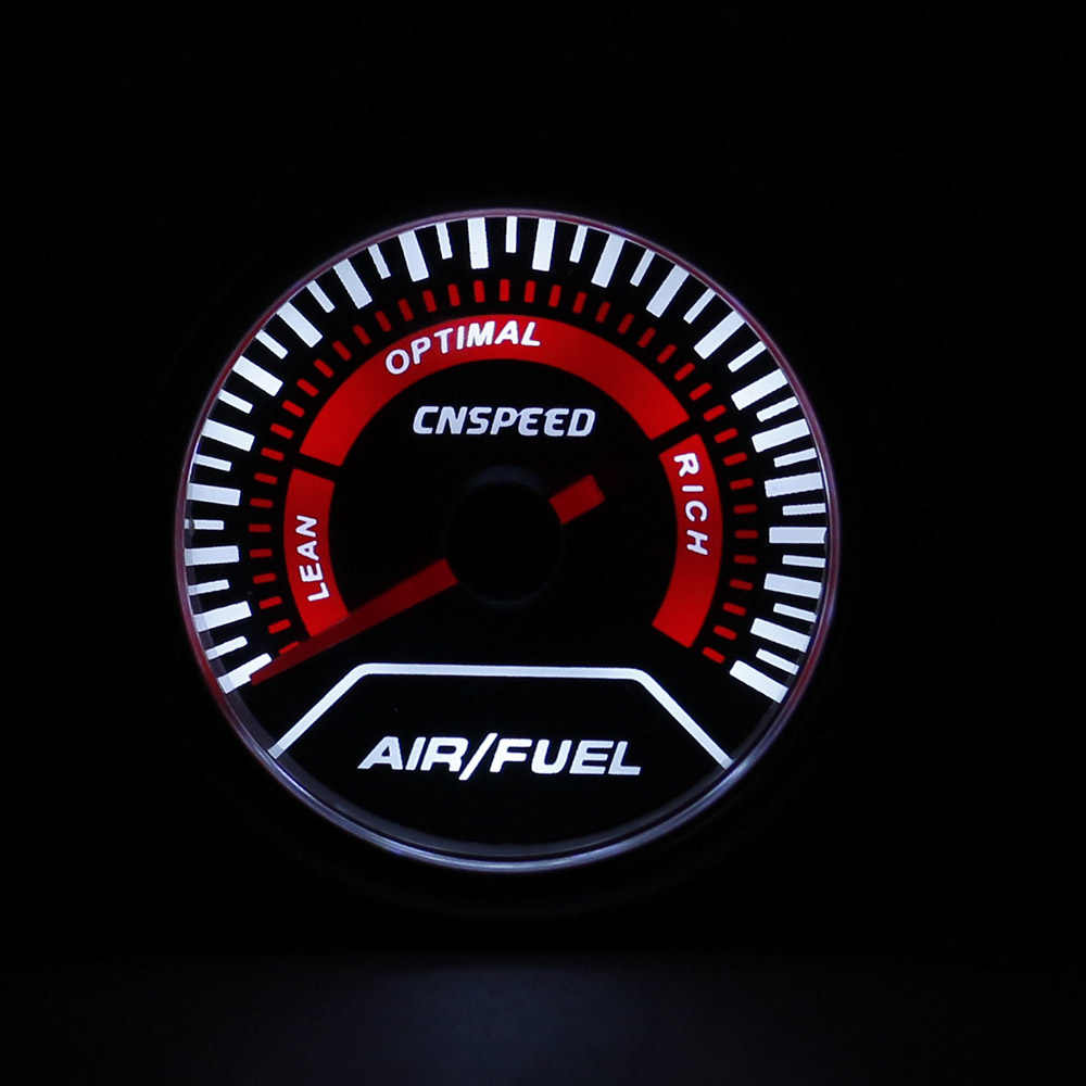 Cnspeed 52 Mm 12 V Mobil Auto Udara Bahan Bakar Rasio Gauge Asap Lensa Putih Lampu LED Udara Bahan Bakar Rasio Meter mobil Afr Meter Jarum Merah YC101233
