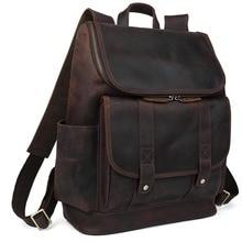 2017 Handmade 100% Cowhide Genuine Leather School Laptop Straps Backpack For Men Zipper Rucksack Bag unique design for men 3149