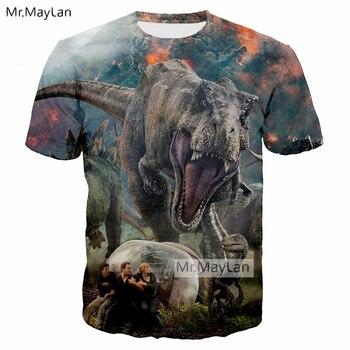 05dfc505fbfc 2018 крутая футболка с 3D принтом «Мир Юрского периода» с динозавром из  фильма «