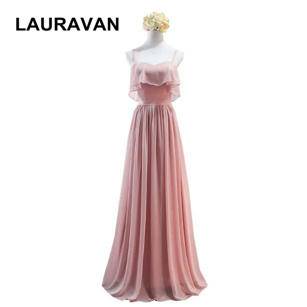 formal sweetheart cute spaghetti straps chiffon bridesmaid girl gowns dresses 2018 long blush pink for special occasions