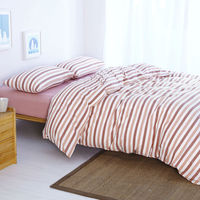 Washed Cotton Four Piece Suit Stripe Duvet Cover Bed Cover Queen Size Bed Spread Gules Princess