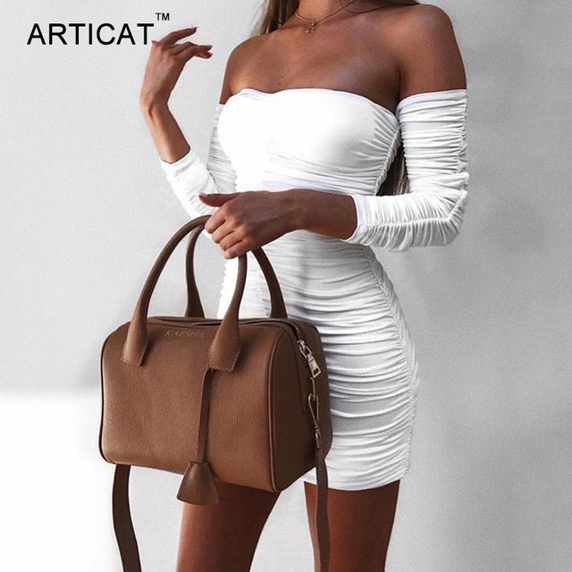 Articat Women Bandage Dress Women 2019 Sexy Off Shoulder Long Sleeve Slim Elastic Bodycon Party Dresses Vestidos 4