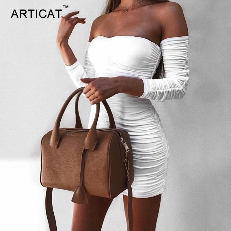 Autumn Winter Bandage Dress Women Sexy Off Shoulder Long Sleeve Slim Elastic Bodycon Party Dresses 3