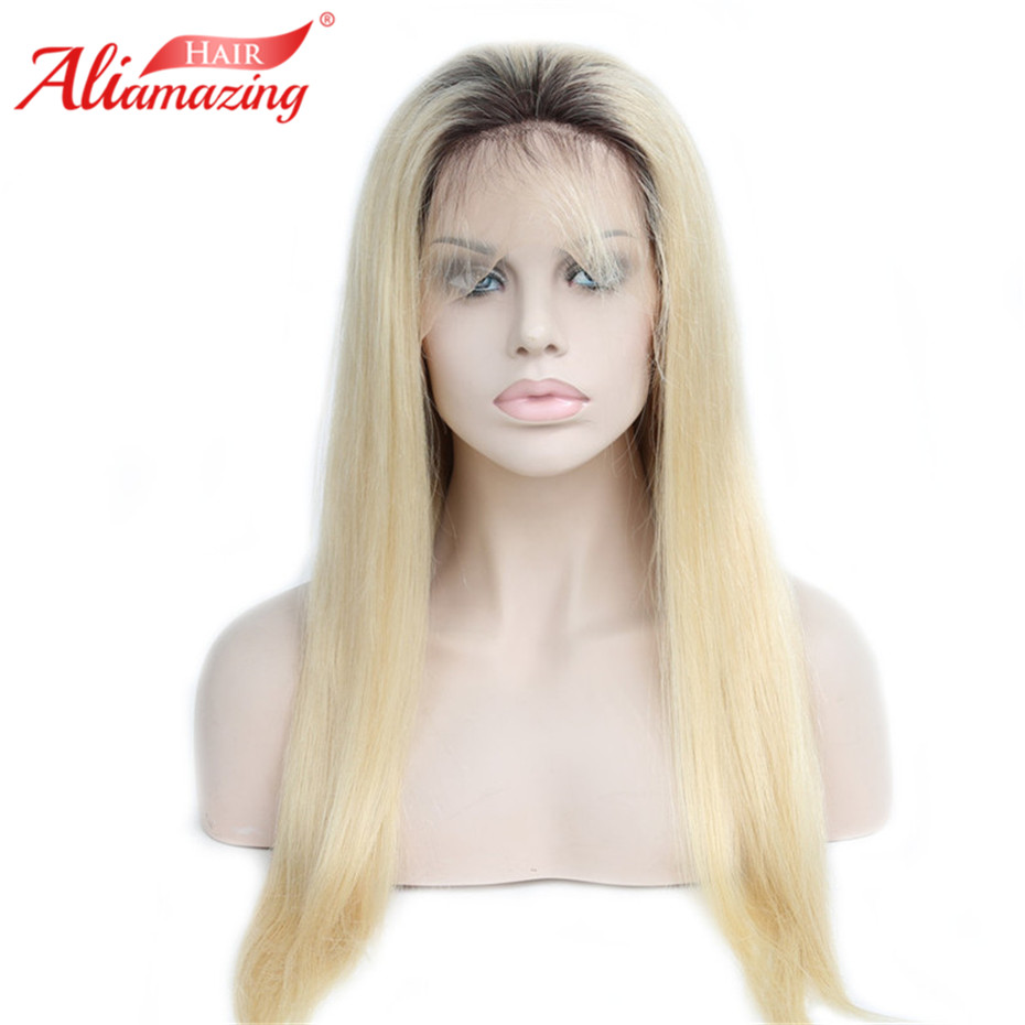 Ali Amazing Hair 1B/613 Dark Roots Blonde Human Hair Wig Pre Plucked Remy Ombre Lace Front Wigs With Baby Hair image