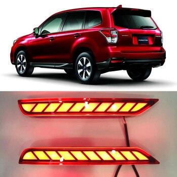 2 uds para Subaru Forester 2008-2019 LED reflector de parachoques trasero luz con siganls coche conducción freno niebla embellecedor moldura lámpara trasera