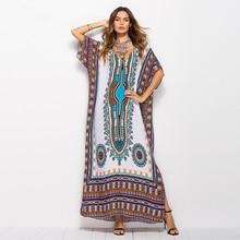 ZOGAA 2019 Summer Boho Long Dress for Women V Neck Batwing Sleeve Maxi Beach Holiday Sundress Ladies Geometric Print Vestidos
