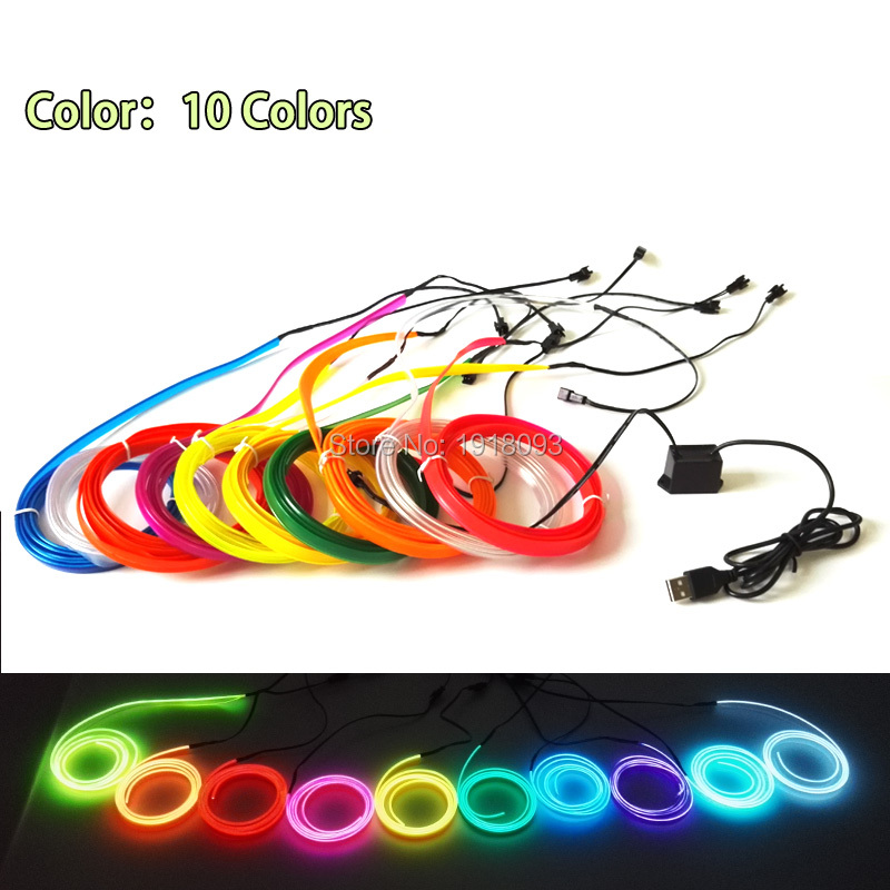 2017 Newest 2.3mm-skirt 2M 10 Color Available Trendy EL Wire Rope Tube LED Strip Neon Light Powered By DC-5V USB Drive Light-up