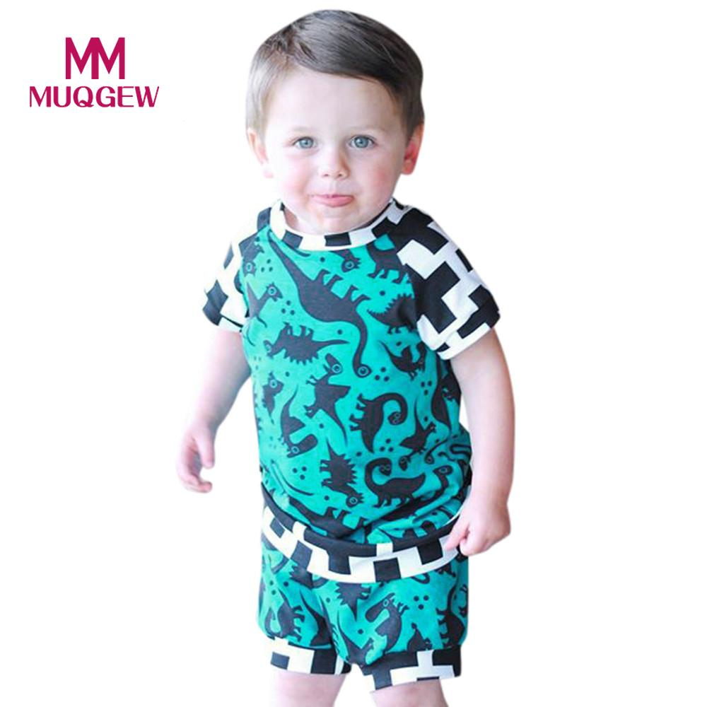 MUQGEW 2018 Baby kids girls boys clothes Toddler Baby Boys Cartoon Tops T-Shirt Dinosaur Shorts Pants Outfits Set Clothes girls baby long sleeve tops t shirt bib cartoon minnie 2pcs outfits set 1 5y