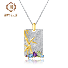 GEMS BALLET Natural Topaz Amethyst Peridot Fine Jewelry 925 Sterling Silver Handmade Bamboo Pendant Necklace for Women