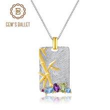 GEMS balet naturalny topaz ametyst Peridot Fine Jewelry 925 srebro Handmade bambusowy naszyjnik dla kobiet