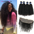 Brazilian Curly 4 Bundles With Frontal Closure Brazillian Curly Virgin Hair With Closure Ear To Ear  Frontal With Bundle