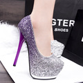 bombas de las mujeres women fashion purple high heel glitter pumps lady casual party and wedding shoes female leisure shoes