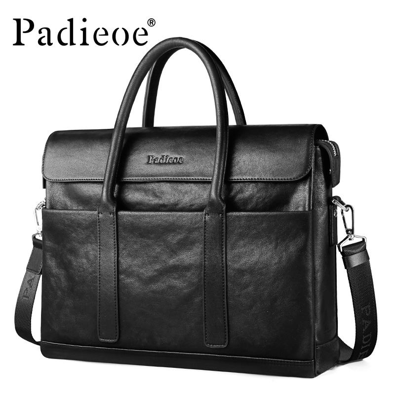 PADIEOE Fashion Brand Men Briefcase Genuine Leather Business Male 14 Inch Laptop