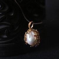 Natural Shaped Pearl Silver Plated Natural Stone Handmade Pendant