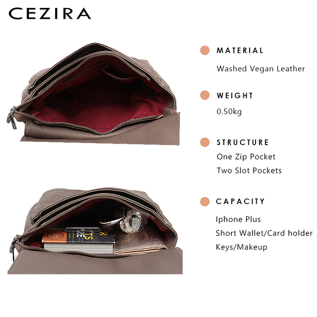 CEZIRA Fashion Shoulder Bags for Women Small Vegan Wash Leather Flap Bag Girl Flap Cover Buckle Casual Messenger Bag Lady Bags 4