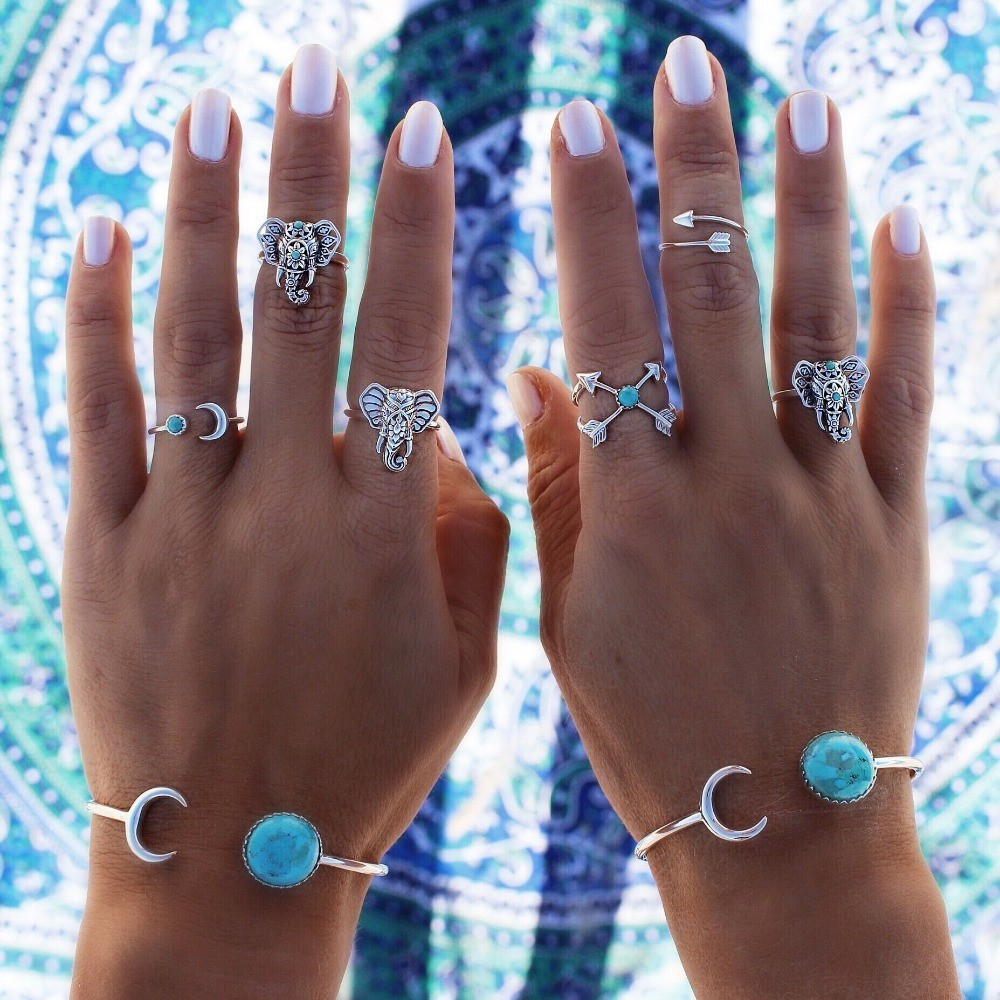 HOMOD Dropshipping 6pcs set Turkish Vintage Steampunk Elephant Moon Midi Ring Set Anillos Bohemian Knuckle anelli Women Rings in Rings from Jewelry Accessories