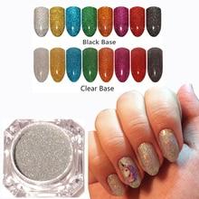 1pcs Nail Art Holographic Nail Glitter Laser Pigment Powder Dust Nail Dip Powder Shining Chrome Pigment Decoration UV Gel Polish