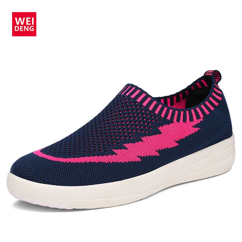 WeiDeng Designer Shoes Women Mesh Breathable Woman Flats Fashion Sneakers Fitness Slip On Rubber Moccasin Casual Flat minika breathable mesh lace shoes women thick bottom shallow mouth women casual shoes slip on flat shoes women high quality