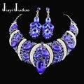Jiayi jiaduo africano conjunto de jóias de casamento colar de mulheres conjunto de jóias banhado a ouro colar e brincos gota 4 cores livre