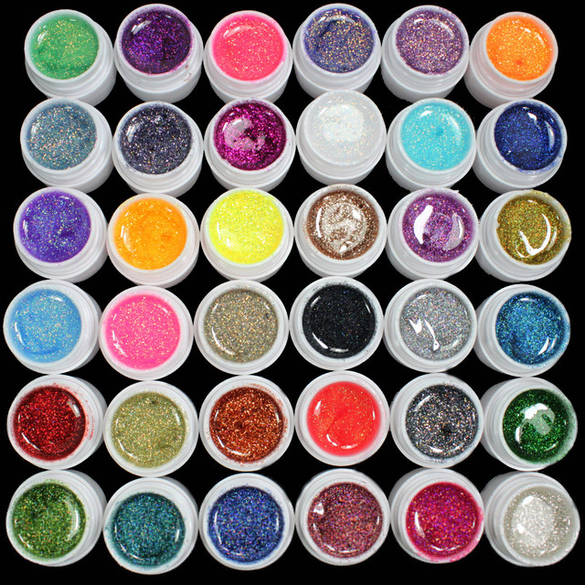 36 PCS Glitter Mix Color UV Builder Gel Acrylic Set for Nail Art Tips