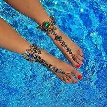 Ladyfirst Ankle Bracelet For Seaside Trip Sandals Horny Leg Chain Feminine Crystal Anklet Foot Jewellery Pie Leg Crystal Anklet3194