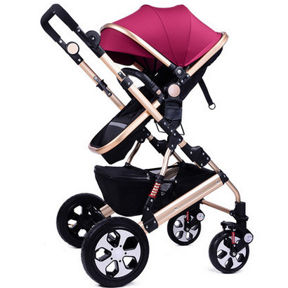 Stroller can sit can lie the bidirectional folding round high landscape suspension children baby buggy