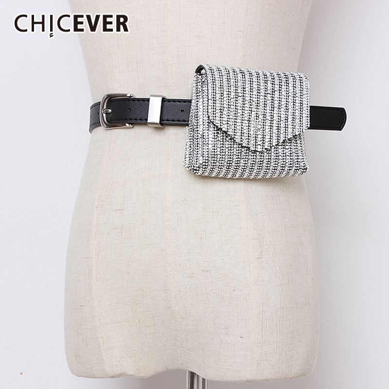 CHICEVER Vintage Dresses Accessories Fashion New High Waist Bag Pockets PU Leather Diamond Belts Female 2019 Summer