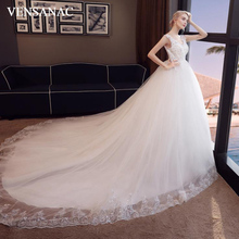VENSANAC 2018 Elegant V Neck Lace Appliques Ball Gown Wedding Dresses Sequined Court Train Backless Bridal Gowns