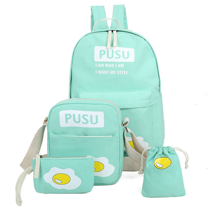 4 pcs set 2016 cute canvas backpack women preppy style omelette school bags for teenage girls